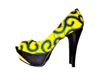 Yellow  African Print Peep Toes Shoes, Multi-Color Pattern, African Fabric Platform Shoes -Platform Wedding Shoes -High Heels - Platforms