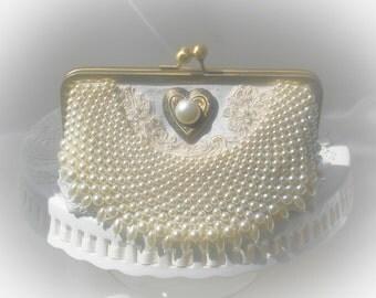 Elegant Wedding / Ivory Wedding Bag / Pearl Wedding Clutch / Prom Clutch / Romantic Wedding / Ivory handbag