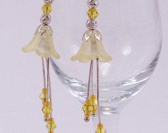 Yellow, Bell Flower Earrings, Lucite Flowers, Dangle Earrings, Yellow Bicones, Spring, Summer