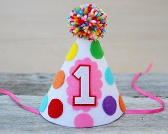 Girls 1st Birthday Rainbow Party Hat - Girls Polka-dot Felt Party Hat - Cake Smash