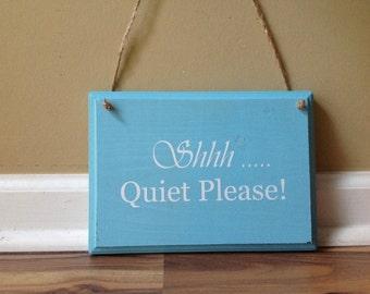 Shhh Quiet Please Do Not Disturb Door Hanger wood hand painted custom sign hanging door sign spa salon door hanger in session aqua white