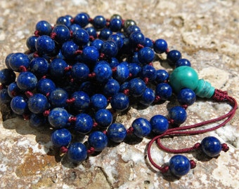 Lapis Lazuli mala, Turquoise and Pyrite, 108 bead Mala. Knotted 6mm Mala. Peace, Positive Energy and Clear Communciation