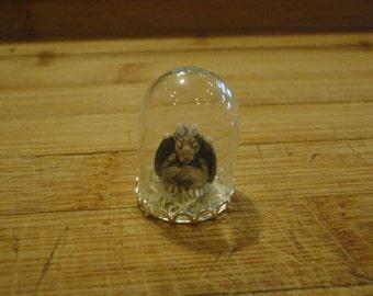 Dollhouse miniature garygoyle-very small glass dome display (c)