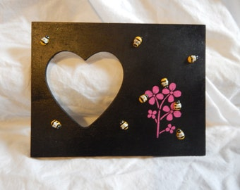 Handmade picture frame with  bumble bees