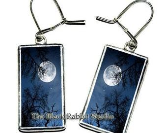 Midnight moon earrings, full moon , trees at night , midnight blue earrings, Moonrise Tree Jewelry, Hypoallergenic Earrings
