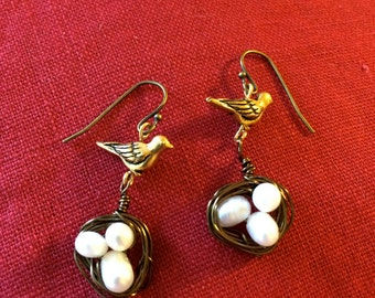 Antique Brass Bird and Nest Earrings