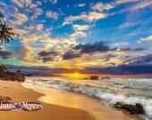 "Beautiful Hawaiian Sunset Fine Art Print titled ""Tropical Serenade"" on 5""x7"", 8""x10"", or 11""x14"" White or Black Mat"
