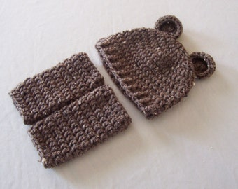 Baby Teddy Bear Beanie Hat & Leg Warmers Set - 0 to 3 Months, 3 to 6 Months, 6 to 12 Months - Barley