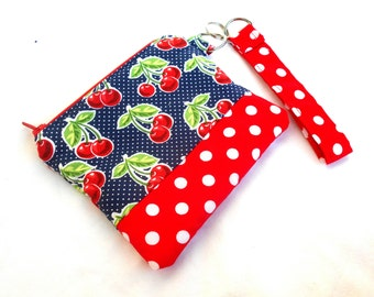 Rockabilly Cherries and Polka Dots Wristlet Clutch - Red White Blue Zipper Pouch