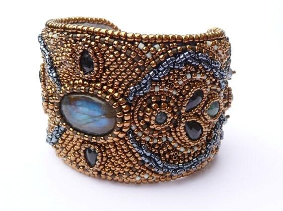 Labradorite bead embroidered bronze cuff bracelet by