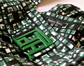 Capri pants / Spanish designer / Pedro del Hierro / pedal pushers / cotton / green black