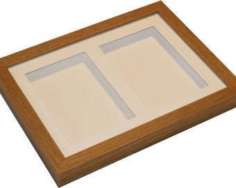 Twin 6x4 inch brown display frame.  Deep shadow box display frame for medals, ceramics, decoupage etc