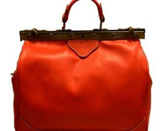Ladies leather handbag doctor bag handheld shoulder bag black brown dark brown made in Italy