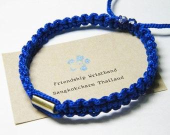 Thai Buddhist Braided Cotton Wristband Bracelet Monk Blessed Friendship Fair Trade Handmade adjustable Blue with Takrut