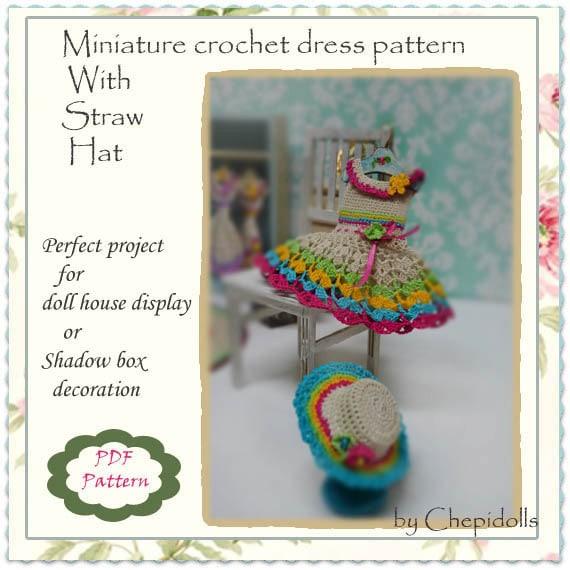 Pattern Miniature Crochet Dress Pattern Doll House Project
