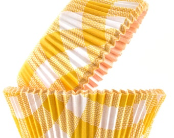 Cupcake Cases - Yellow and White Check x60