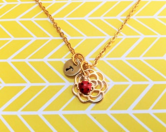 LADYBUG and FLOWER NECKLACE - red and black ladybug on a gold plate flower personalized with initial charm - ladybird necklace