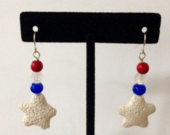 Fourth of July earrings, Red white and blue earrings, USA, patriotic, handmade, stars