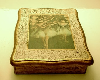 Elegant Handcrafted Wooden Jewelry Box With Ballerina Artprint Cover