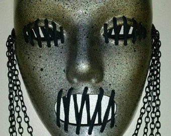 One of a kind hand painted mask, See no evil, speak no evil