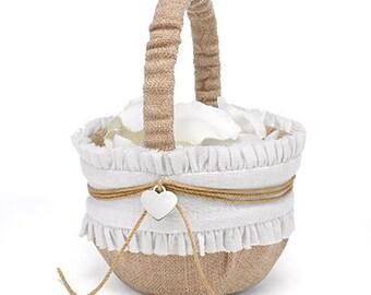 Burlap Wedding Flower Girl Basket