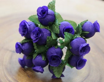 Small Bunch of  Purple Rose Buds/ Fabric Flower/ Rose Bud/ Wired Flowers
