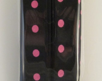 Bias Tape Black and Pink Polka Dot Handmade 1 inch Single Fold 4 3/4 yds OOAK One of a Kind Unique Funky Clothing Trim Print