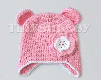 Teddy Bear Baby Hat, Earflap Pink Baby Crochet Bear Hat, Flower Earflap Bear Hat, Pink Bear Baby Hat, Baby Animal Hat