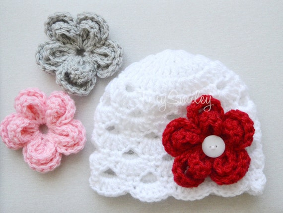 Interchangeable Crochet Flower Pattern : White Baby Girl Hat Interchangeable Crochet Flower Hat White