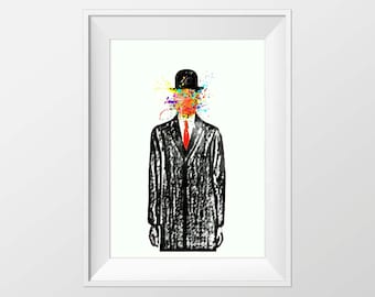 Magritte art print tribute, Magritte son of man print tribute, Contemporary art print