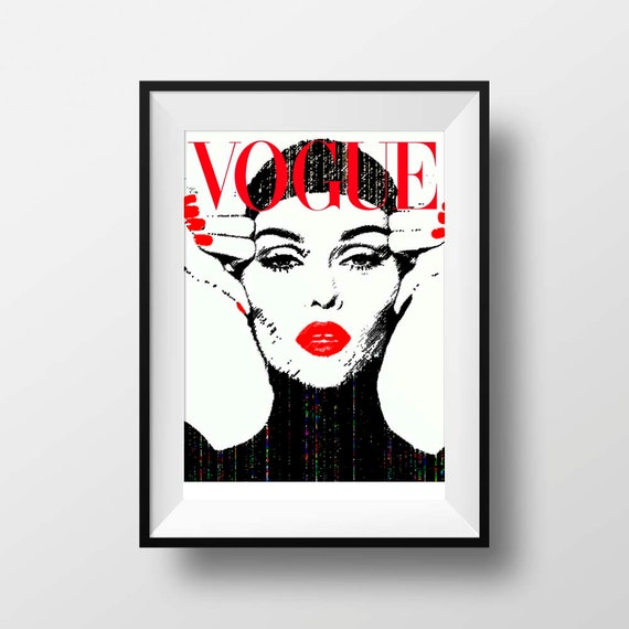 Vogue cover magazine print fashion wall art decor by belugastore - Magazine wall decor ...
