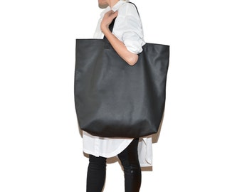 Oversized leather Bag  TAKI   black  leather