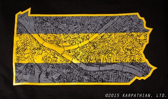 Pittsburgh Pennsylvania map t shirt