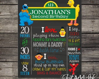 Birthday Sesame Street Chalkboard Poster PhotoProps or Keepsakes - Customized Printable File - Baby's First Birthday