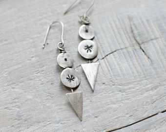 long earring silver solid, CUSTOM, ethnic, tribal, arrow, triangle