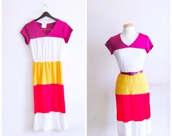 Blocked Color // Vintage 70s Dress // 1970s New old stock NOS Deadstock Color Blocked Dress