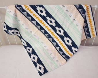 Arizona Aztec Gold, Mint, and Navy  Blue Baby Crib Cot Blanket