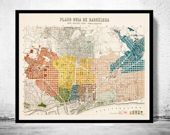Old Map of Barcelona, Spain Cataluña 1910 Vintage map Barcelona