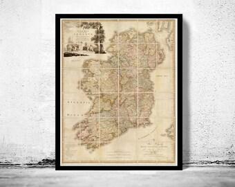 Vintage Map of Ireland 1797 Beautiful Antique map of Ireland