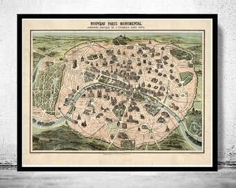 Old Map of Paris Monumentale, France 1878