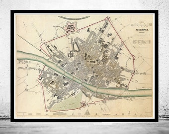 Old Map of Florence Firenze, City Plan  Italia 1835 Antique Vintage Italy