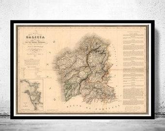 Old Map of Galicia Galiza Espana 1837 Spain