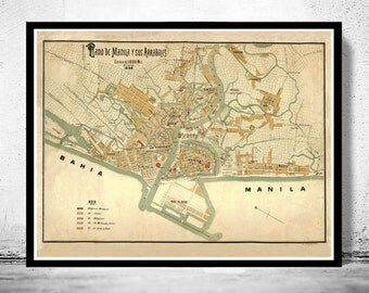 Old Map of Manila, Philippines 1898