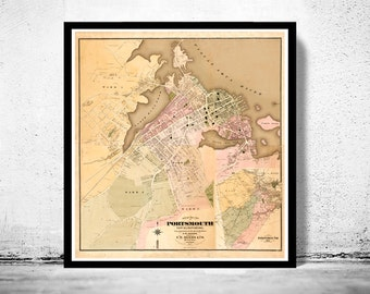 Vintage map of Portsmouth New Hampshire 1876