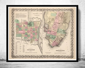 Vintage map of Savannah and Charleston GA Georgia 1895