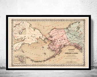 Old Map of Alaska 1868