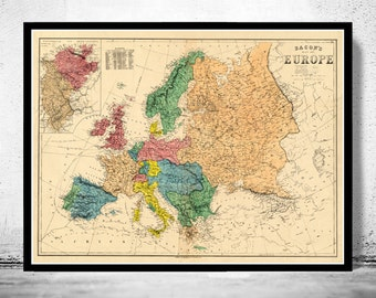 Old Europe Map Antique 1870