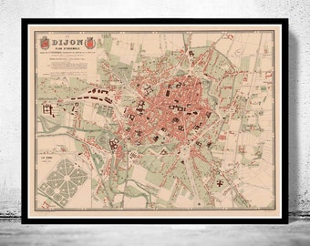 Old Map of Dijon 1874 Vintage Map