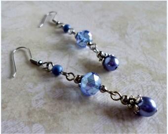 Blue Crystal Bead Earrings in Silvertone