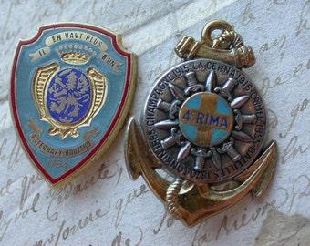 French vintage enamel bronze silver medal military medals antique military bronze coat of arm anchor enamel Paris